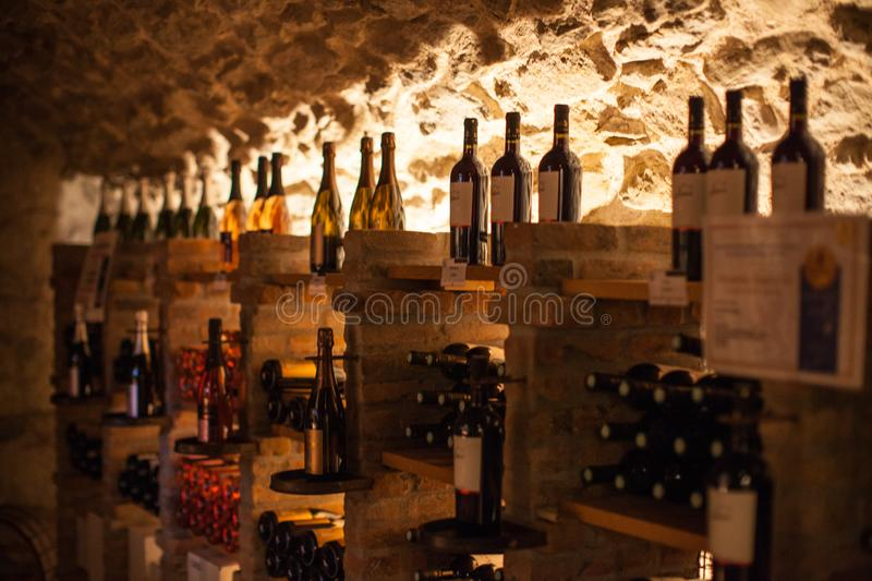 A wine cellar in a cave stock photography
