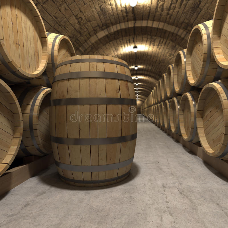 Wine cellar. 3D rendering of a wine cellar royalty free illustration