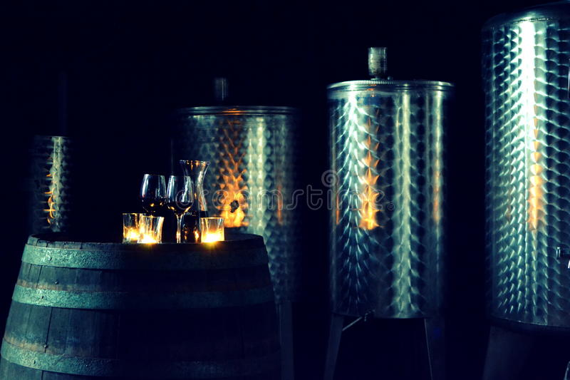 Wine cellar at dawn. Picture is taken in small private wine cellar witch offers luxurious wine stock images