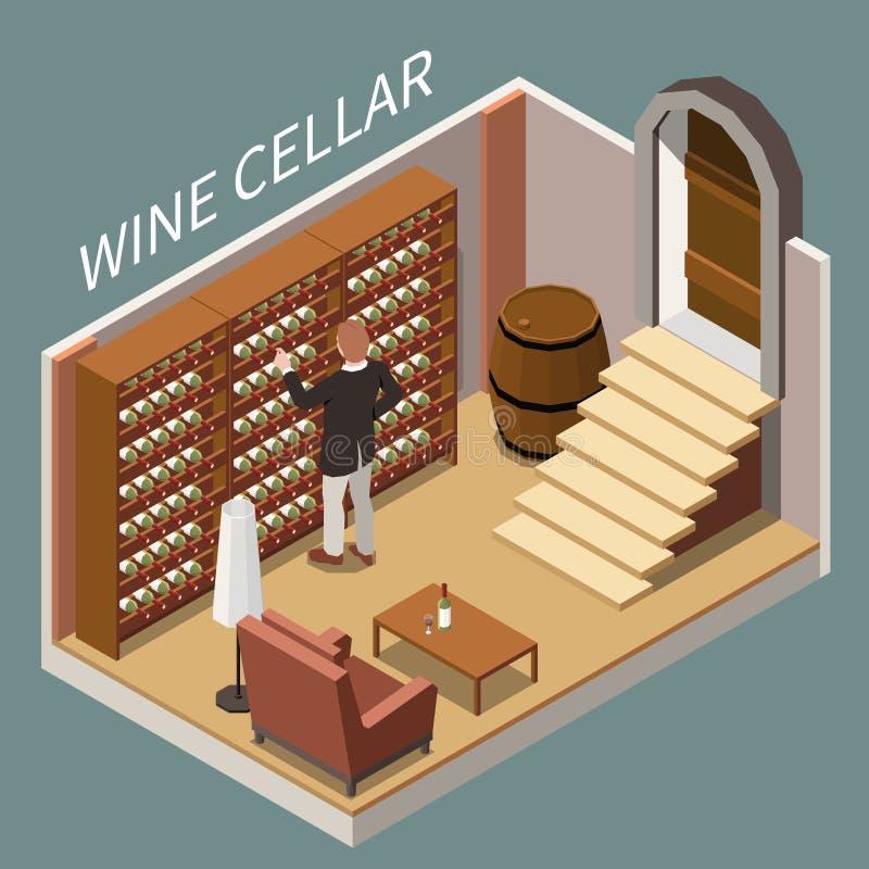 Wine Cellar Isometric Composition vector illustration