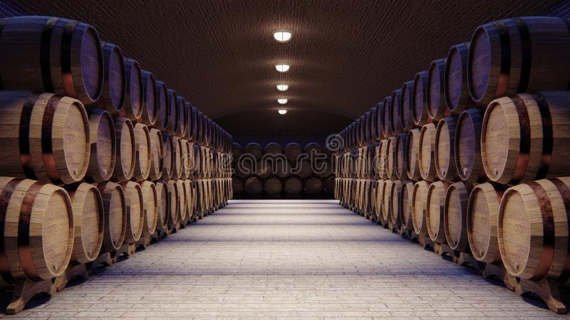 Wine cellar with large wooden barrels. 3d rendering stock illustration