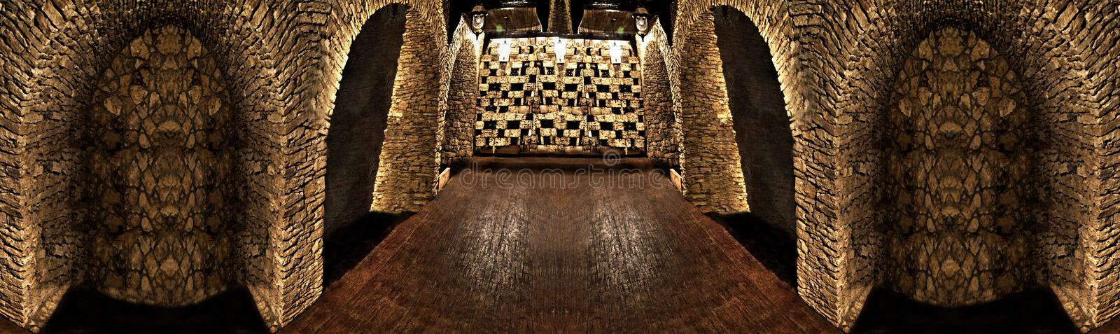 The wine cellar is made of stone stock photo