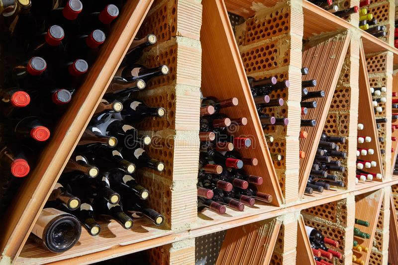Wine Cellar from Mediterranean with bottles stock photos