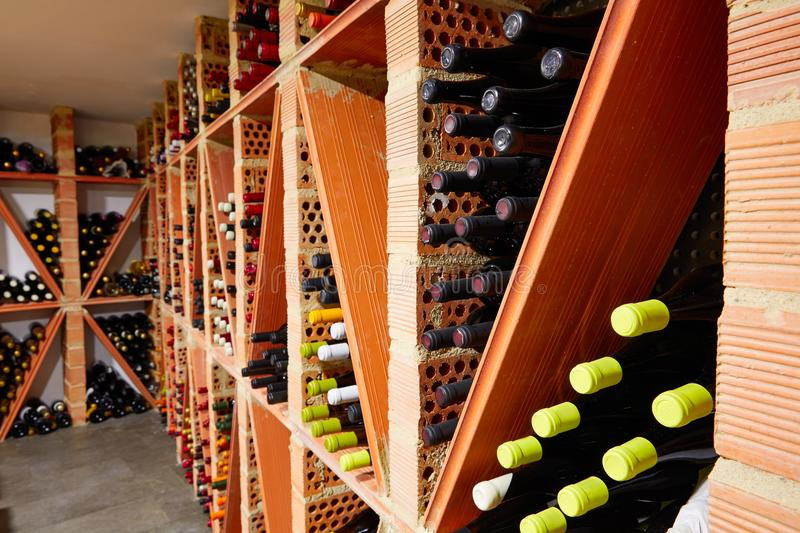 Wine Cellar from Mediterranean with bottles royalty free stock photos