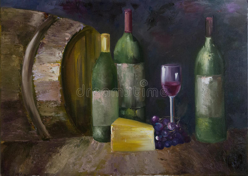 Wine-cellar. The photography of the oil painting Wine-cellar. Th picture with wine-cellar's artefacts stock illustration