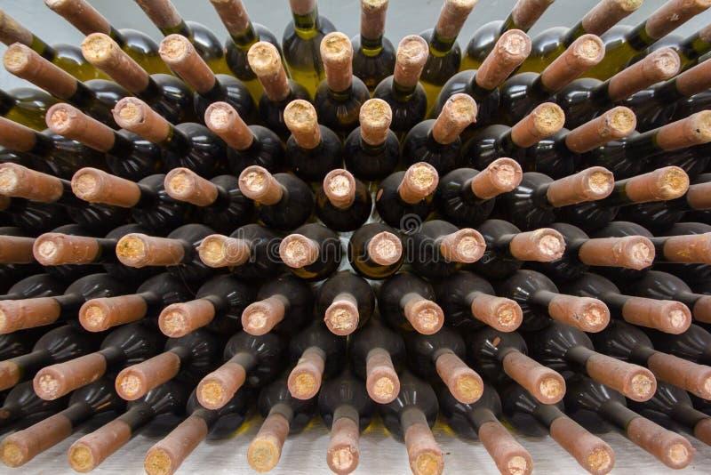 Wine cellar, a row of bottles. stock photos
