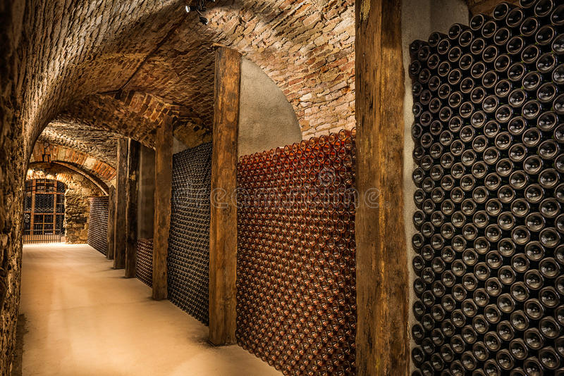 Wine cellar, a row of champagne bottles royalty free stock photo
