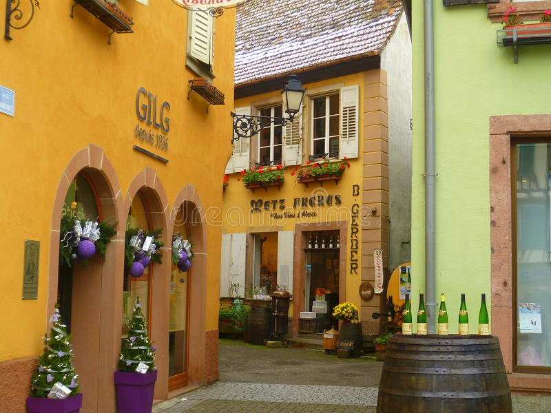 Wine cellars in Ribeuaville. Nice village in the wine route, ALsace stock photography
