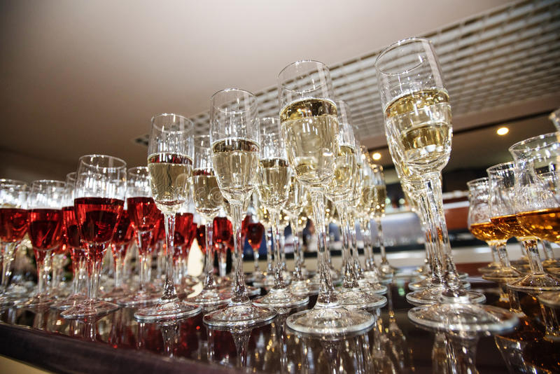 Wine, champagne, cognac glasses royalty free stock photography
