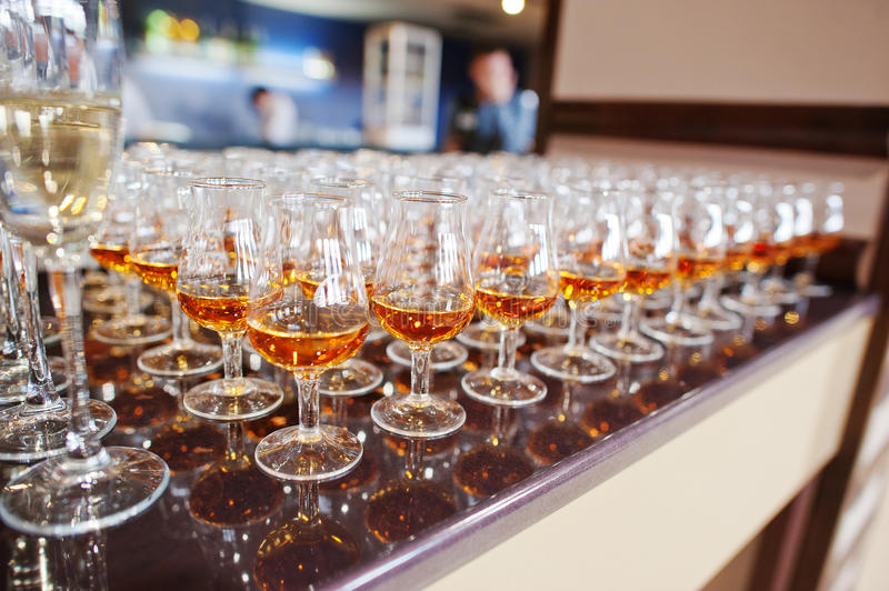 Wine, champagne, cognac glasses royalty free stock images