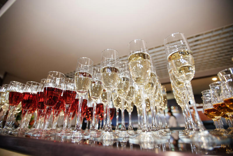 Wine, champagne, cognac glasses royalty free stock photos
