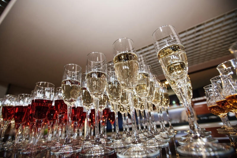 Wine, champagne, cognac glasses stock photography