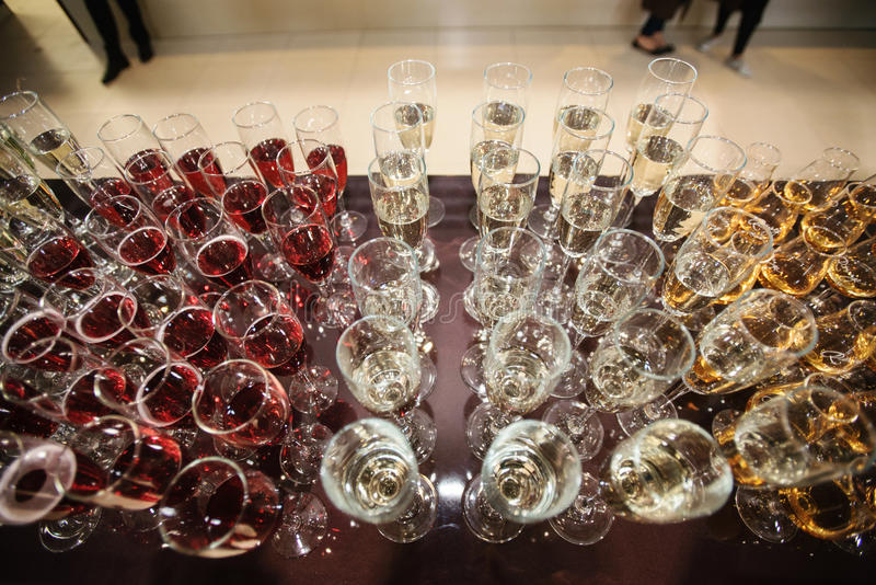 Wine, champagne, cognac glasses stock images