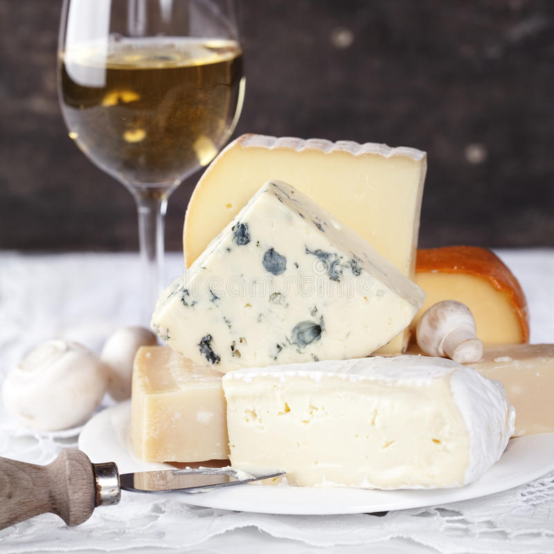 Wine and cheese royalty free stock images