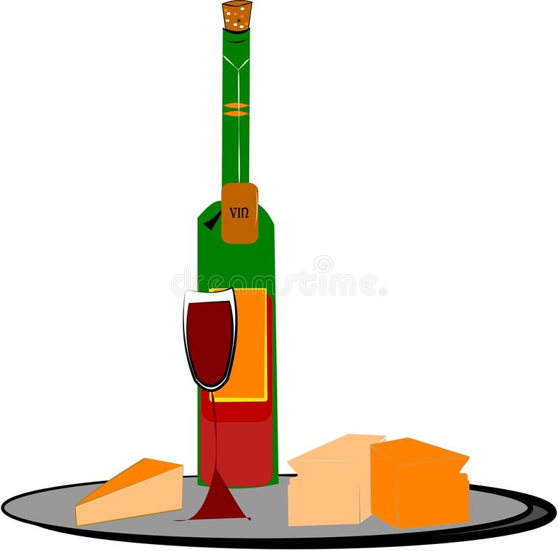 Wine and cheese royalty free illustration
