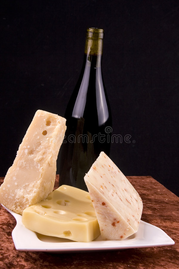 Wine and cheese composition royalty free stock photos
