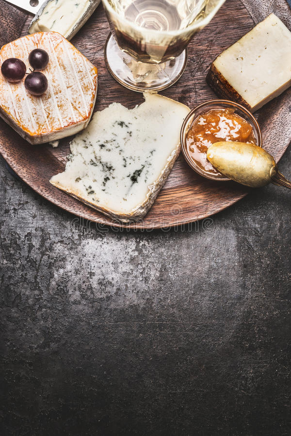 Download Wine And Cheese On Dark Rustic Background Top View Stock Image