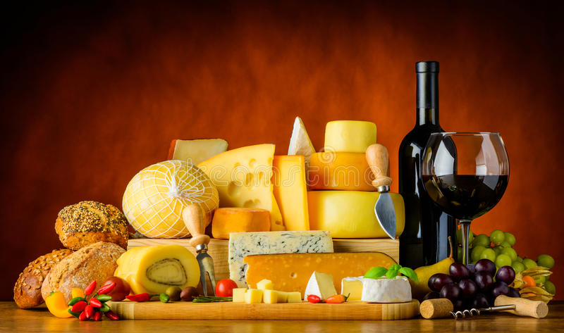 Wine Cheese and Food stock photo