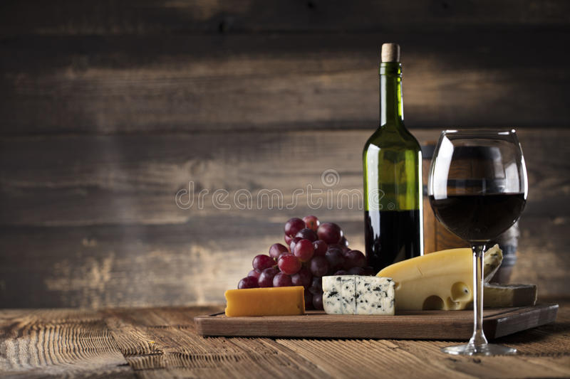 Wine and cheese. royalty free stock image