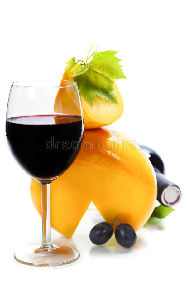Wine, cheese and grape royalty free stock images