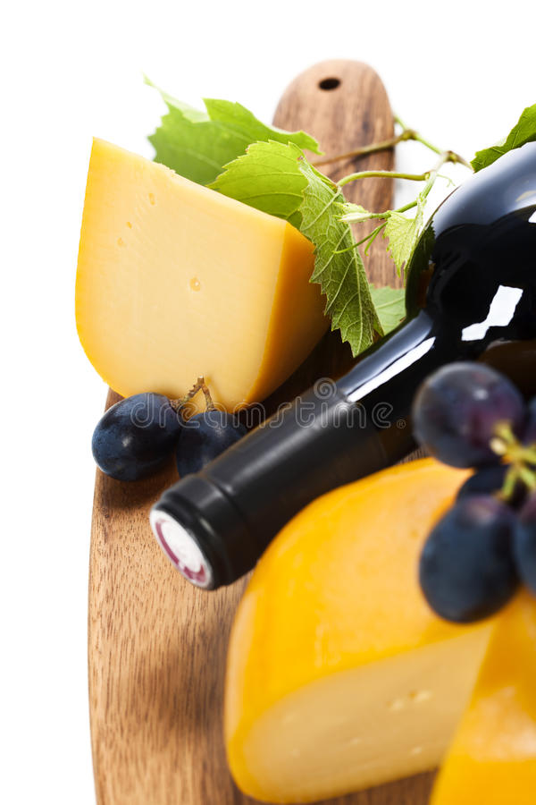 Wine, cheese and grape stock photography