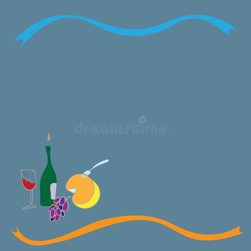 Wine cheese and grape hand drawn objects for wine card design. vector illustration royalty free illustration