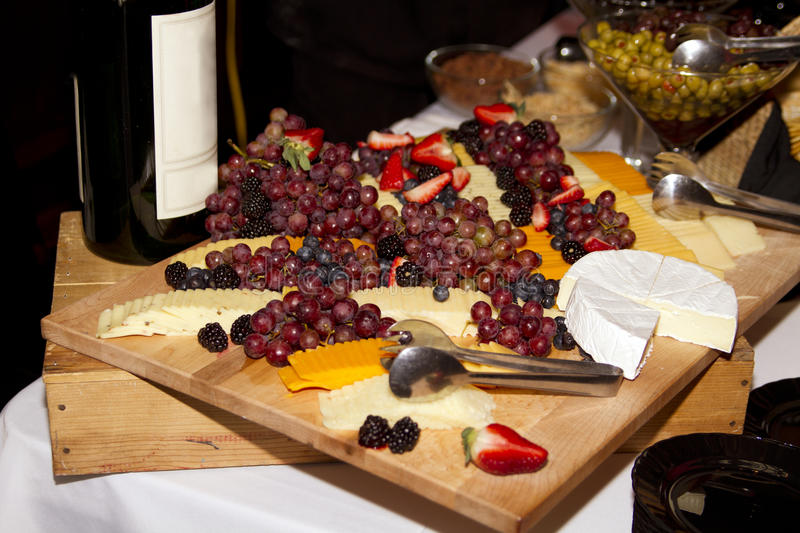 Wine, Cheese, And Grapes Royalty Free Stock Images