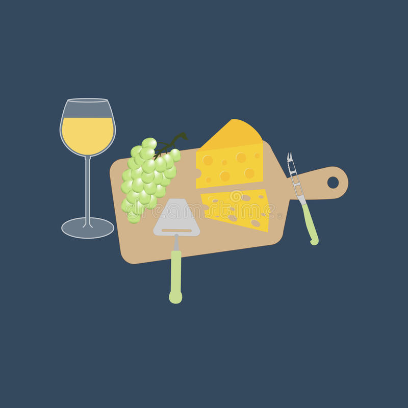 Wine cheese and grapes. On the board. Cheese knife. Vector illustration vector illustration