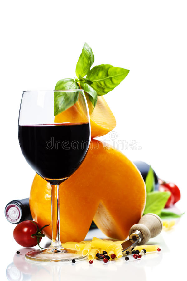 Wine, cheese and italian ingredients stock image