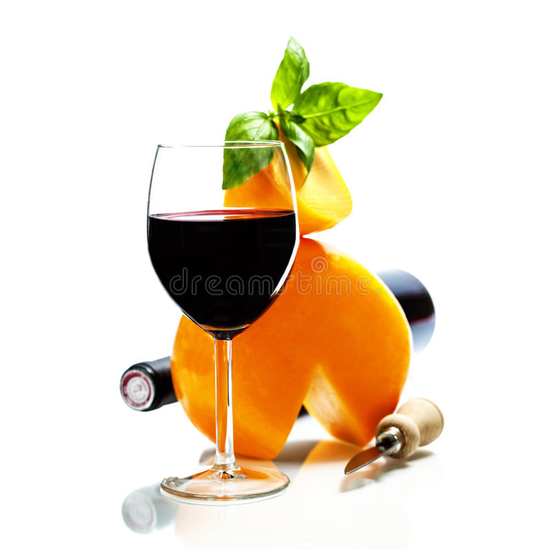Wine, cheese and italian ingredients royalty free stock images