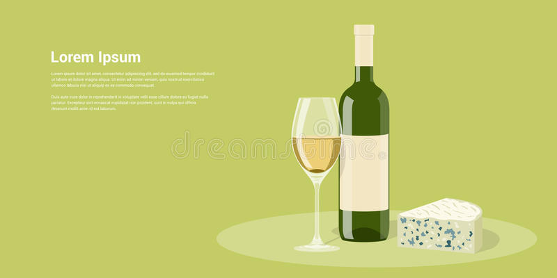 Wine and cheese vector illustration