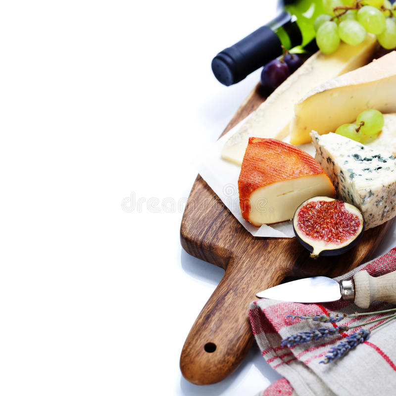 Wine and cheese plate royalty free stock photography