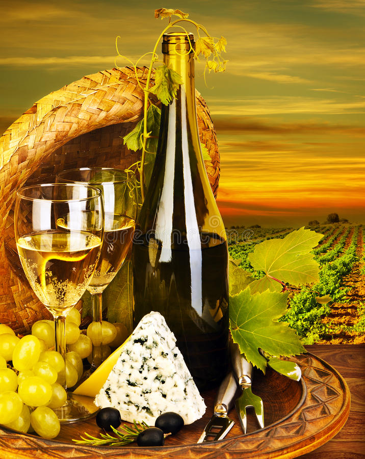 Wine and cheese romantic dinner outdoor royalty free stock photo