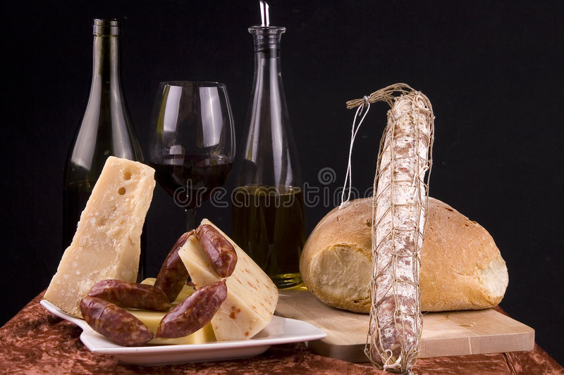 Wine Cheese Sausage Bread stock photos