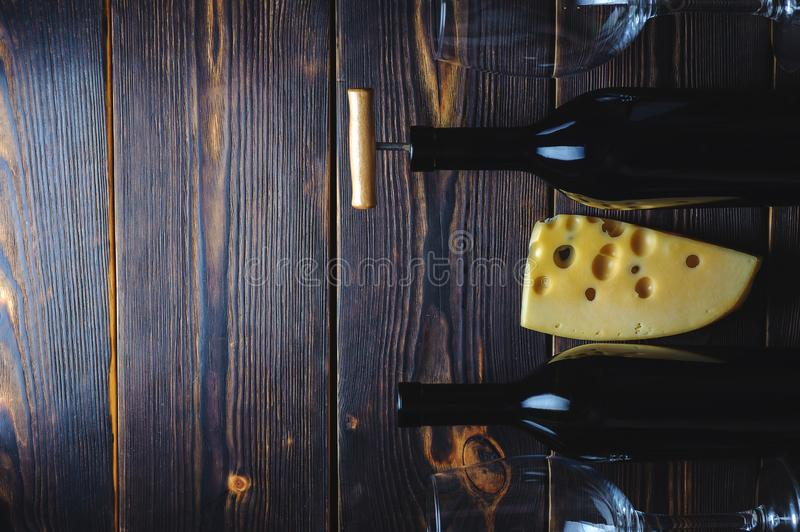 Wine and cheese space to copy stock photography