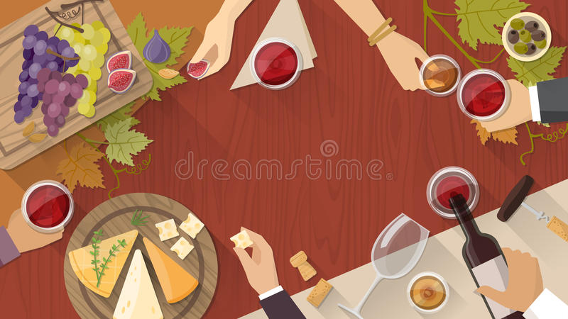Wine and cheese tasting vector illustration