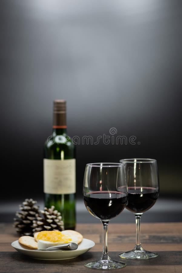 wine and cheese on wood table royalty free stock images