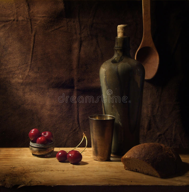Wine and cherry stock images