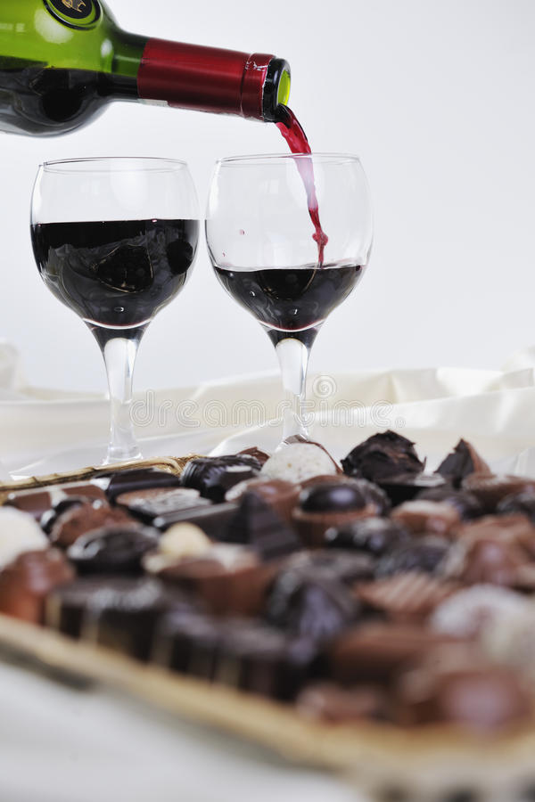 Wine and chocolate royalty free stock photos