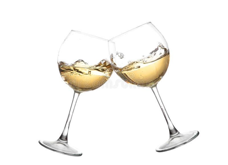 WHITE Wine collection - Cheers! Clink glasses. Wine collection - Cheers! Clink glasses with white wine. Isolated on white background. Toasting gesture two white stock photography