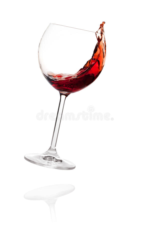 Wine collection - Red wine in falling glass. Isolated on white background royalty free stock photo