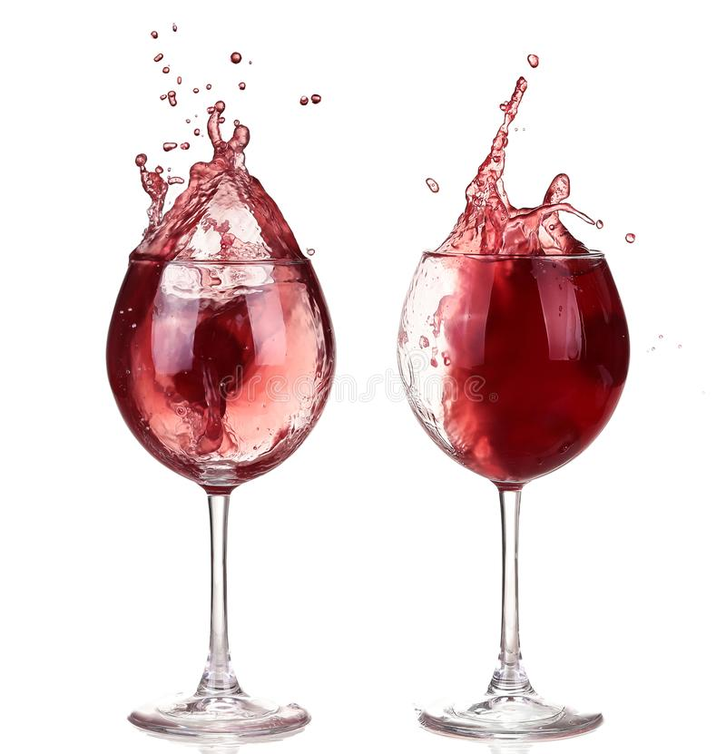 Wine collection - Splashing red wine in a glass. stock image