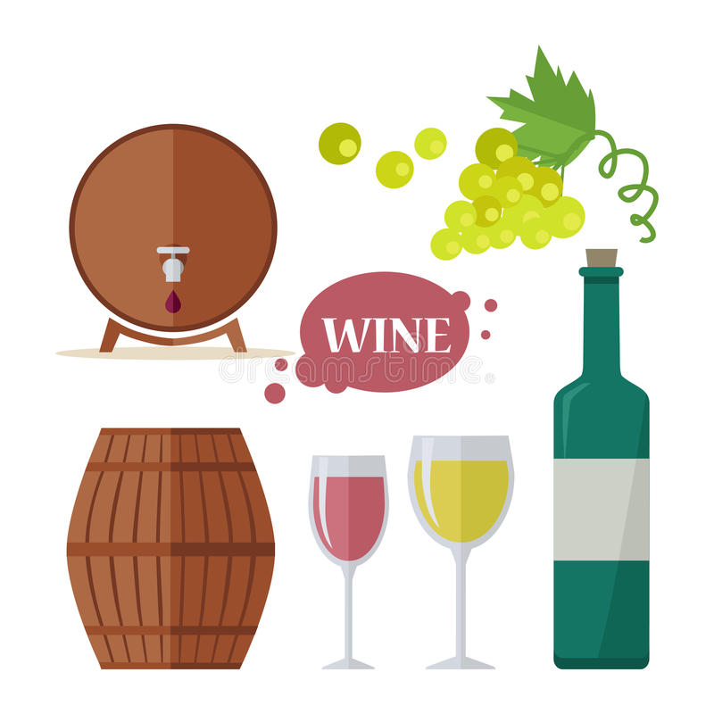 Wine Consumption Icon Set. Viniculture Production stock illustration