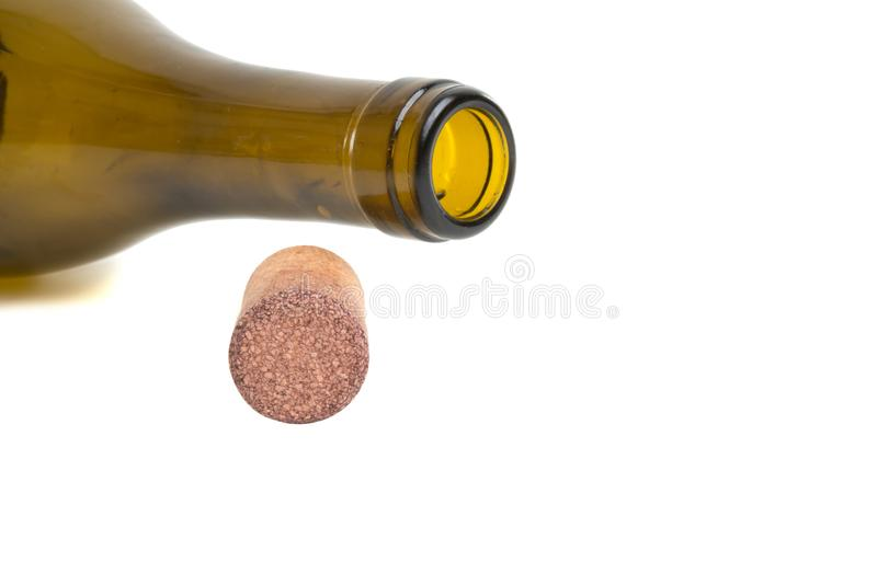Wine cork and bottle isolated. On the white royalty free stock photos