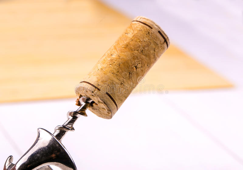 Wine cork and corkscrew close-up. stock photography