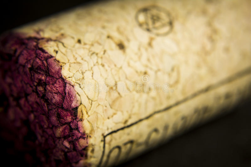 Wine cork in detail. Detail of a red wine cork royalty free stock photography