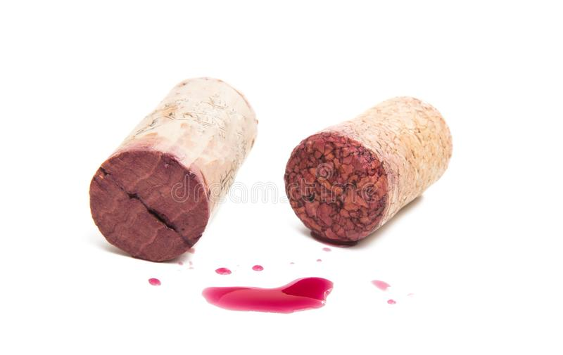 Wine cork with drops of red wine stock photos