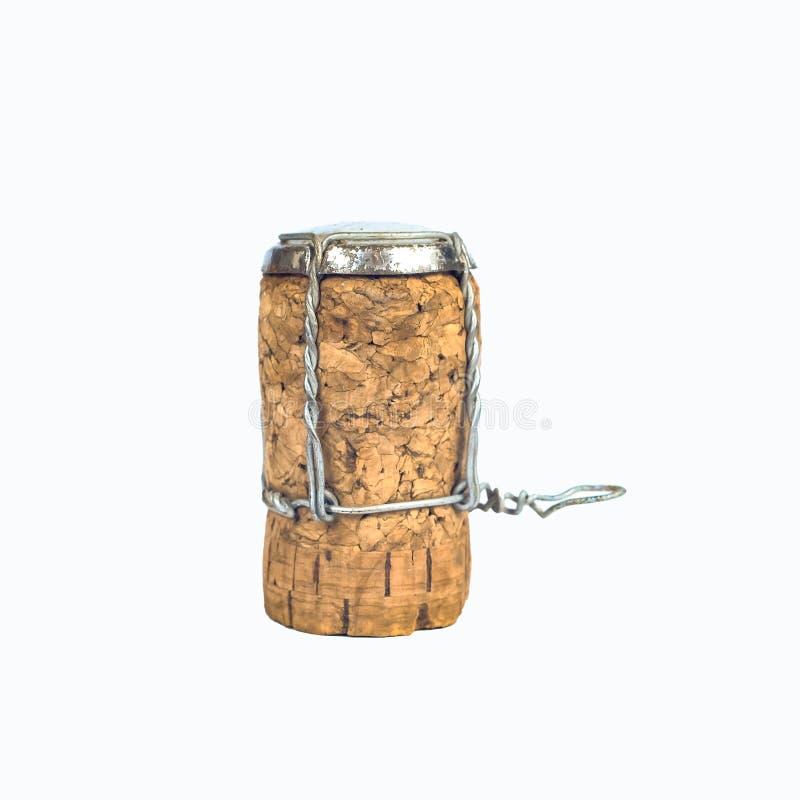 Wine cork isolated on white background closeup. Shot stock image