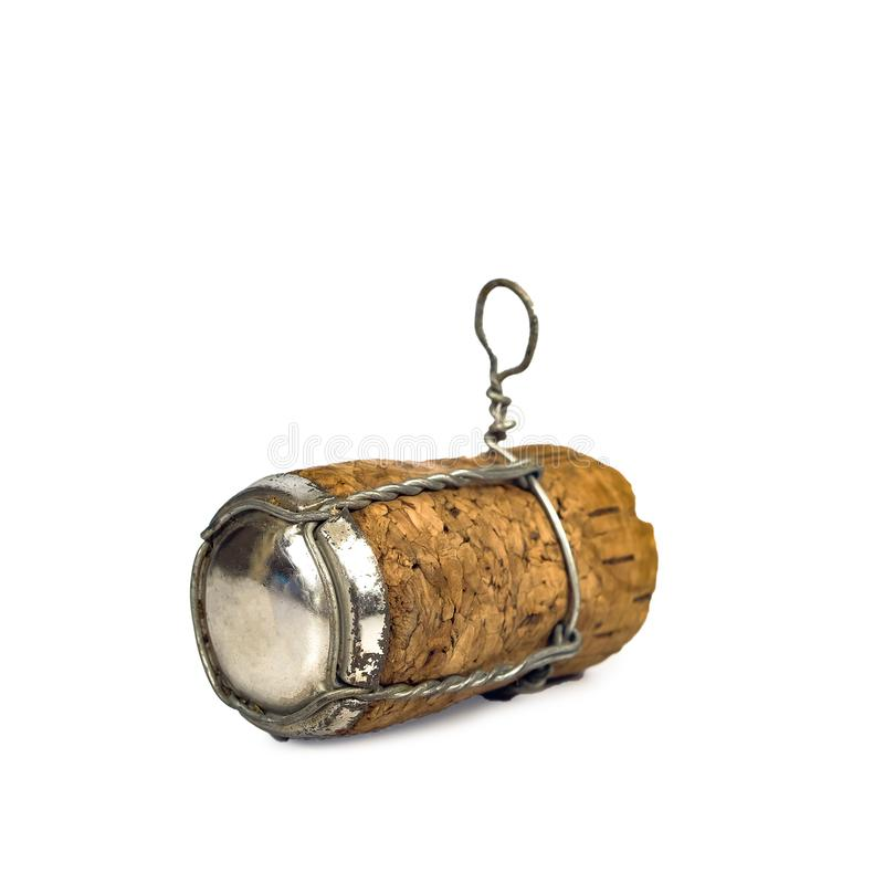 Wine cork isolated on white background. Closeup shot stock photo
