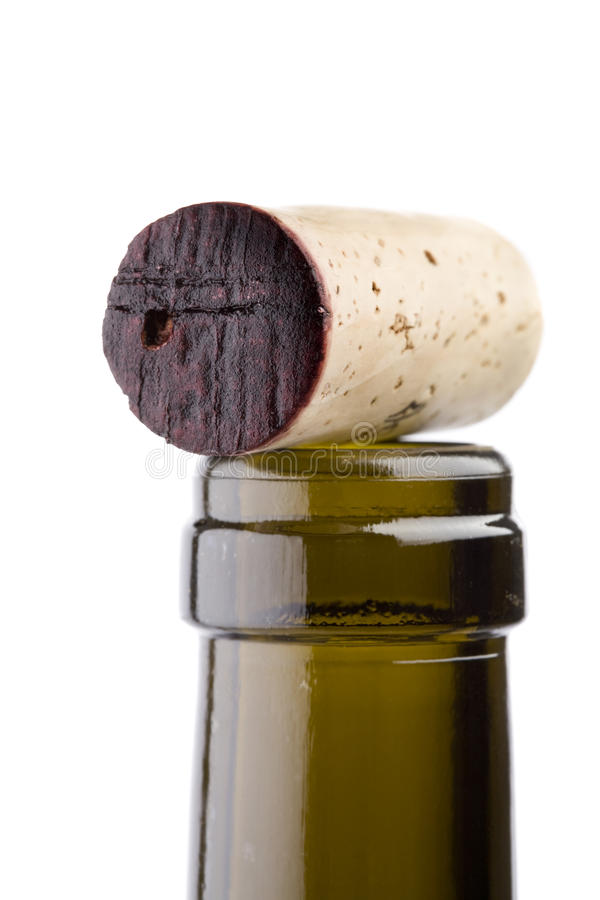Wine cork on top of bottle neck stock images